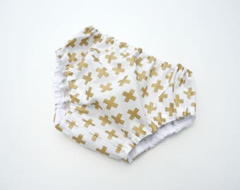 Gold crosses diaper cover-Baby diaper cover-Baby bloomers-Baby gender neutral nappy cover-Unisex bloomers-Cotton bloomers