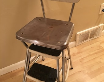 Vintage Cosco Step Stool, Kitchen Stool, Mid Century Step Stool , White Vinyl Stool, Retro Step Stool
