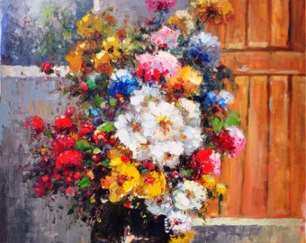Oil painting, flowers painting, oil on canvas, oil home decor, oil art flowers