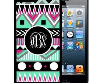 Monogrammed Rubber Case For iPhone X, 8, 8 plus, 7, 7 plus, 6s, 6s plus, 5, 5s, 5c, SE - Black Pink Teal Aztec