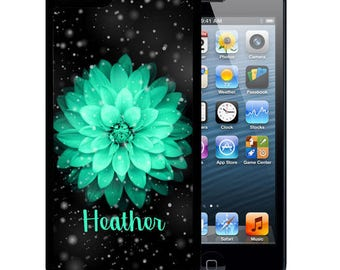 Personalized Rubber Case For iPhone X, 8, 8 plus, 7, 7 plus, 6s, 6s plus, 5, 5s, 5c, SE - Space Teal Flower