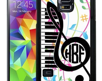 Monogrammed Rubber Case For Samsung Note 3, Note 4, Note 5, or Note 8 - Music Notes Treble Clef Piano