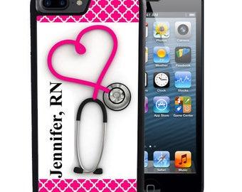 Personalized Rubber Case For iPhone X, 8, 8 plus, 7, 7 plus, 6s, 6s plus, 5, 5s, 5c, SE - Stethoscope Nurse RN