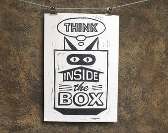 """Poster   linocut   """"Think inside the box"""""""