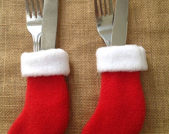 Pack of SIX Christmas Stocking Cutlery Holders