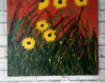 SALE, SUNFLOWERS unique original acrylic painting on 20x20inch canvas frame