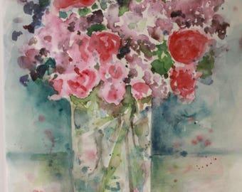 Backyard Bouquet - Original Watercolor