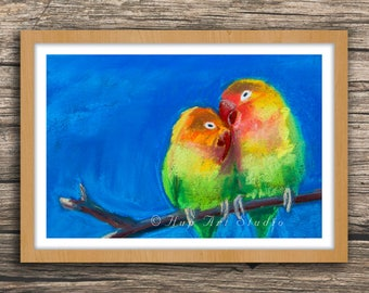 Lovebirds - Fine Art Print of Soft Pastel Painting