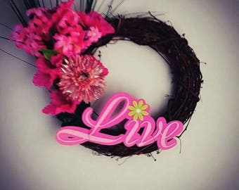 "Pink ""Live"" Breast Cancer Awareness Wreath"