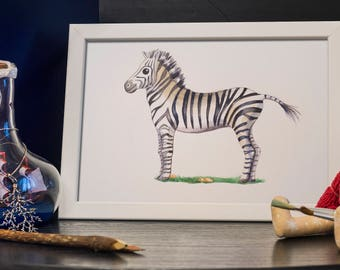 ZEBRA WATERCOLOR PAINTING - gift for a child, room decor