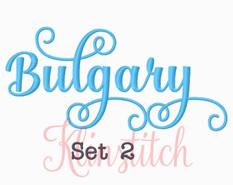 50% Sale!! Set 2 Bulgary Embroidery Fonts 4 Sizes Fonts BX Fonts Embroidery Designs PES Fonts Alphabets - Instant Download