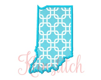 50% Sale!! Indiana State Applique Designs 9 Sizes Embroidery Designs USA State Outline Embroidery PES Embroidery Designs