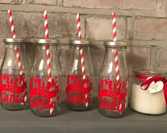 """Glass Milk Bottle with """"Milk for Santa"""" print and straw."""