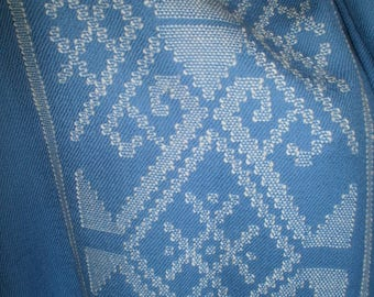100% NZ Lambswool Hand woven and Hand knotted Stole in Light Blue with cream detail.I