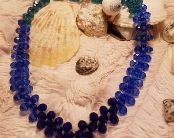Blue, Aqua and Teal Crystal V-neck choker, handmade crystal choker, ocean blues, Aqua crystals, Christmas gift. FREE STUD EARRINGS. Gift