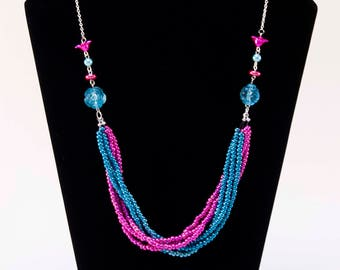 Neon Dreams - Bright Seed Bead Flowers Necklace