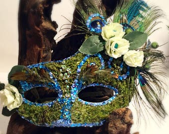 Feathers and Moss, mask, costume mask, feather mask, mother nature, forest mask, festival mask, fairy mask, mardi gras, halloween