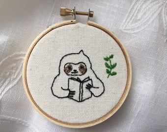 "Sloth gift,Embroidery hoop art,Sloth reading a favorite book,me time, 3"" hoop art,Funny embroidery Animal embroidery,Sloth embroidery series"