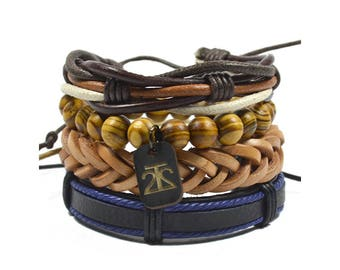 4 Pack Brown and Blue Variety Bracelet Set