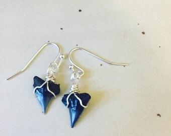 Silver dangle sharks teeth earrings; silver sharks tooth earrings- fossil earrings- boho earings- island jewelry- sharks tooth