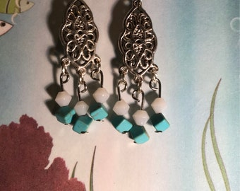 Small white and turquoise chandelier earrings