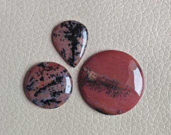 Natural Brown Dendritic Agate 3 Piece Cabochon Gemstone Pear and Round Shape Best Quality Craft Supplies Mirror Polished Dendritic Gemstone.