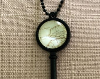 Travellers map Key Cabochon Necklace.  Always return home.  Home is where your heart is.