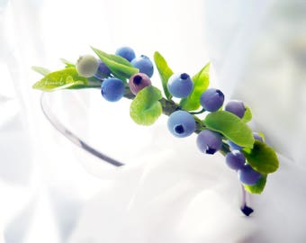 Blueberry headband, accessories Berries, Clay berry, Rustic, Wedding jewelry