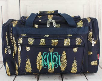 Navy Feather Duffle