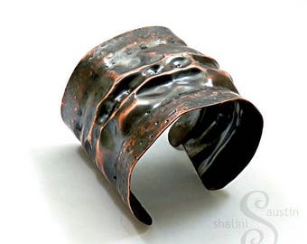 Air-chased Unisex Rustic Copper Cuff 'Lunar'  | Handmade in Stamford, Lincolnshire, 7th Anniversary Gift for Her or Him