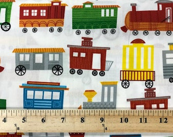 On The Go, Wilmington Prints, Quilting fabric, Trains, Childrens Fabric, Cotton Fabric