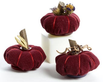 Fairy Garden Burgundy Corduroy Pumpkins Set of Three