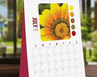 Flowers Color Palette 2018 Calendar, Wall Calendar, Notebook Calendar, Photography, Nature, Floral, Printable Art, Digital Art, Planner