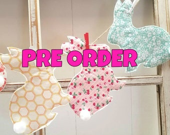 PRE_ ORDER  - Easter Hop Bunnies Scrap Bunting - Fabric scrap Spring Easter Garland Banner Bunting  - 5 feet length
