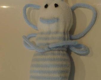 Plush bee white blue striped, knit, handmade, brand new.