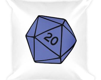 Blue D20 Square Pillow