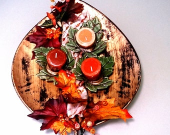 Fall centerpiece with glass leaf candle holders.  Make a statement with this unique, bright centerpiece.