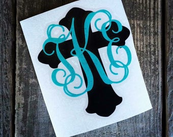 Cross with monogram vinyl decal sticker for laptop, YETI cup, tumbler, car, mug, and more!