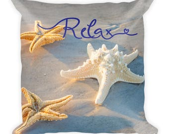 Relax Pillow, Starfish, Beach, Tropical Spa, With Words Saying, Toss Cushion 18 x 18 Decor For Bed, Couch, Nature Lover Washable With Insert