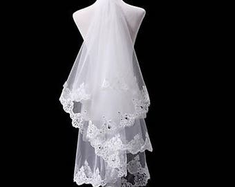 Wedding Veil Two-tier Elbow Veils Lace Applique Edge 15.75 in (40cm) Tulle