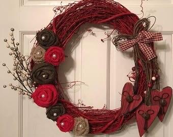Valentine's Day wreath for front door, Valentine's Day decor, Valentine's Day gifts for her