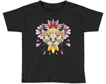 Watercolor floral cat Kids Short Sleeve T-Shirt, Cat portrait design girls shirt, colorful animal design, outfit for toddler girl.