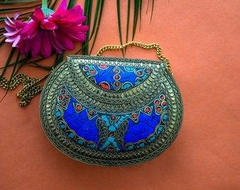 Lupita handmade metal clutch, ethnic antique gold clutch, ethnic bag, boho bag, Indian vintage clutch, evening clutch, tribal bag