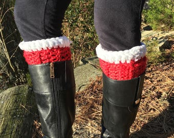 Crochet Boot Cuffs-Christmas Boot Cuffs- Red and White Boot Cuffs