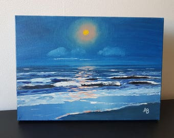 Oil Painting on Canvas 'Moonlight by the Sea', 25x35