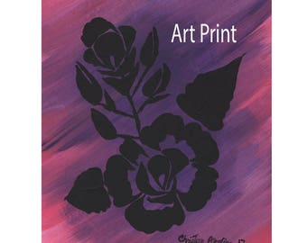 Art Print Original Design Rose Stencil Made in Montana Hand Painted Black Pink Purple Magenta Bright Flower Kalispell Montana