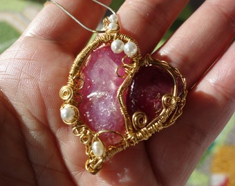 Natural Ruby Heart Pendant (2), wire jewelry