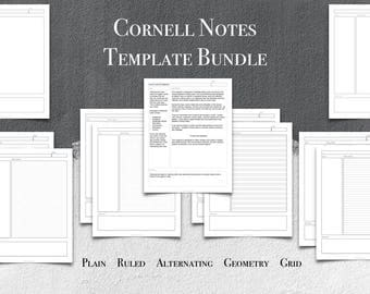 Cornell Notes Digital Paper | Printable Template Bundle | US Letter Size|PDF Format| Plain| Ruled|Geometry|Grid|GoodNotes Template