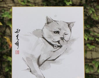 Tradition Chinese Ink Painting, Original Painting, Sumi-E Cat 03