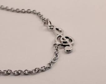 Sideways Silver Treble Clef Bracelet